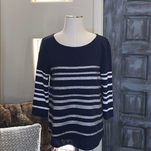J crew beaded striped blouse